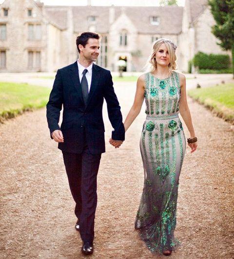 sleeveless emerald sequin wedding dress in art deco style