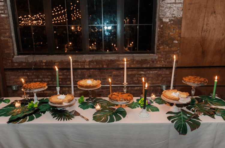 Home pies and cheesecakes were served for the wedding