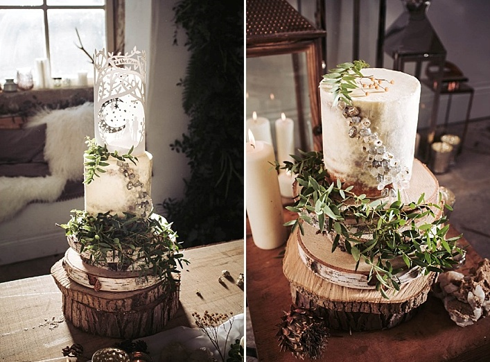 The wedding cake was also unique, with greenery and crystal decor