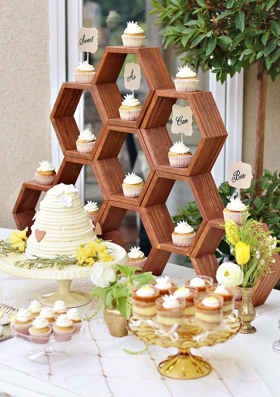 a hexagon cupcake stand for delicious desserts
