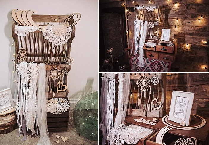 Dream catchers, ribbons, laser cut decorations and lights were used for wedding decor