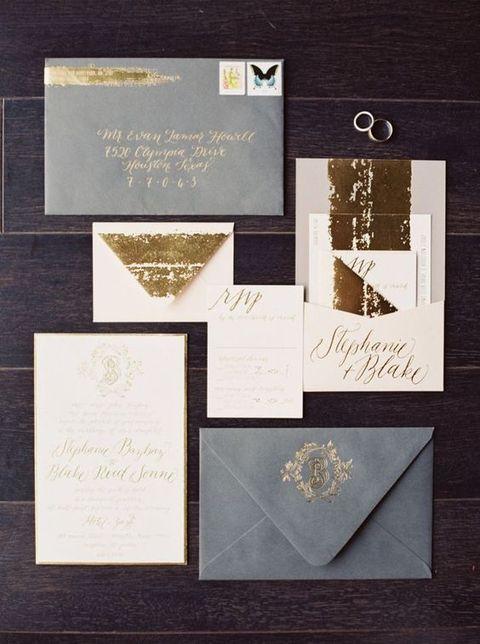 grey and cream wedding invitations with gold leaf decor