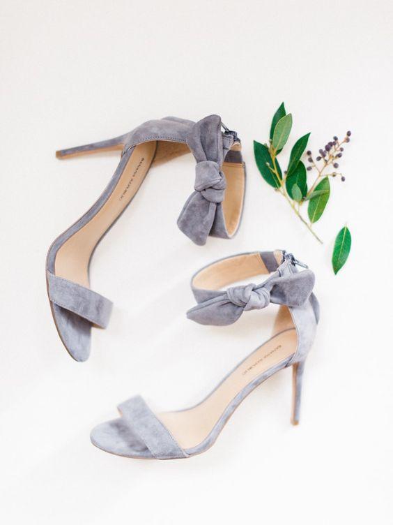 grey ankle strap velvet heels with bows