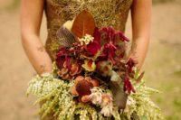 13 gold sequin plunging neckline cap sleeve wedding dress