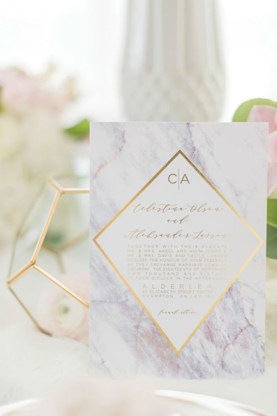 purple marble wedding invitations and stationery with gold geometric details