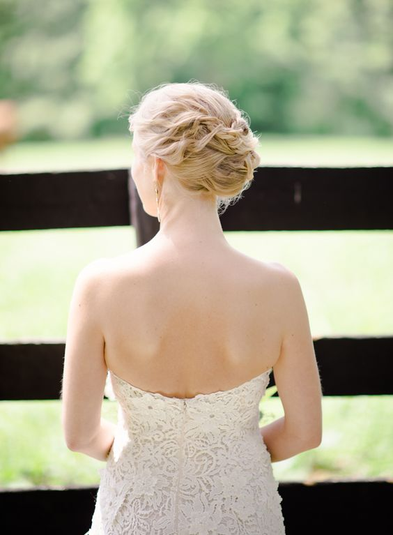 braided and twisted wedding updo for a chic yet not old-fashioned look