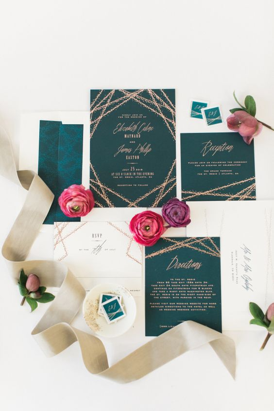 emerald invitations with copper glitter detailing