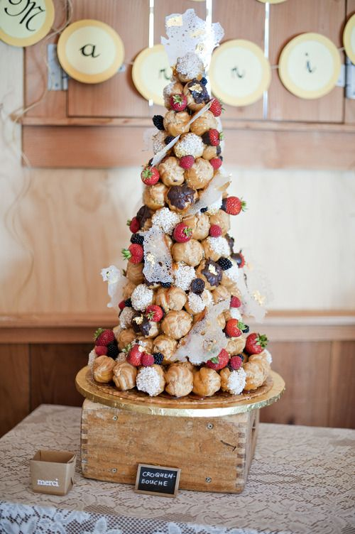 wedding croquembouche with fresh blackberries and strawberries