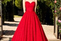 16 hot red spaghetti strap lace wedding dress with a full skirt