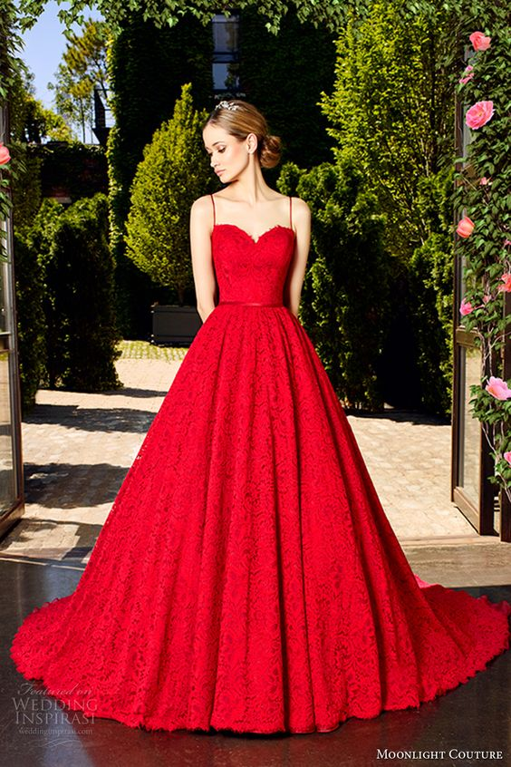 Hot Red Spaghetti Strap Lace Wedding Dress With A Full Skirt