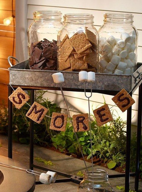 an s'more bar is a creative and simple idea that will easily fit an outdoor rustic shower