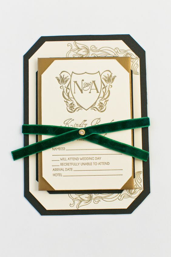 gold calligraphy wedding invites with emerald ribbons