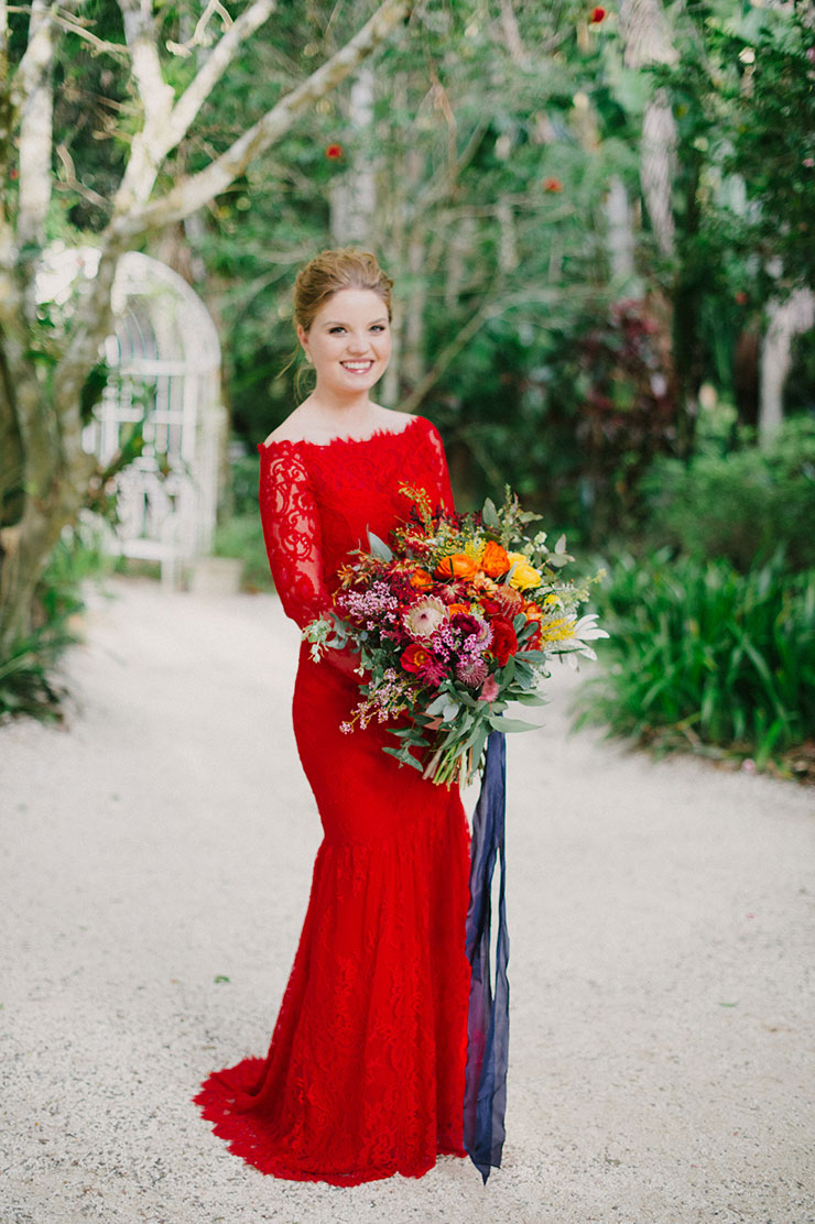 hot red off the shoulder lace mermaid long sleeve wedding dress