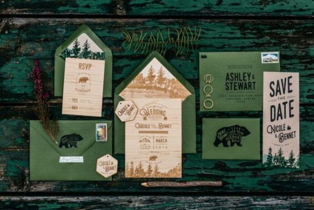 sage green envelopes, invites with woodland prints for a woodland wedding