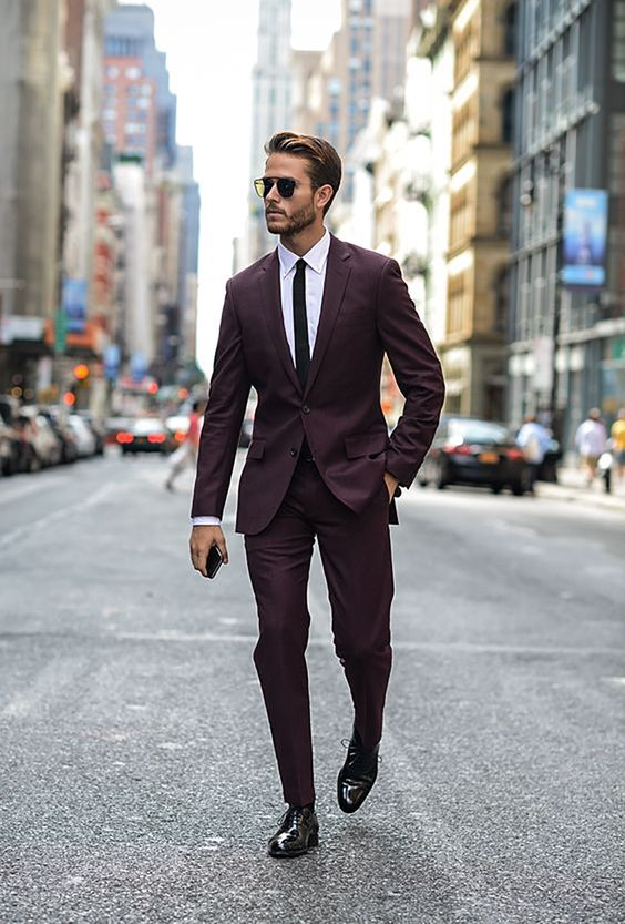 Picture Of burgundy wedding suit with a white shirt and a thin black tie