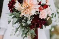 18 fall wedding bouquet with dahlias of different shades
