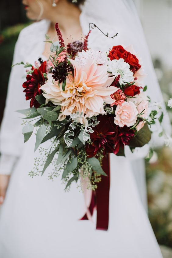 fall wedding bouquet with dahlias of different shades