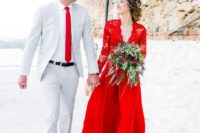 18 hot red lace bodice long sleeve wedding dress with a plain skirt
