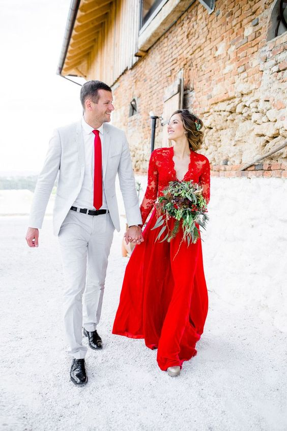hot red lace bodice long sleeve wedding dress with a plain skirt