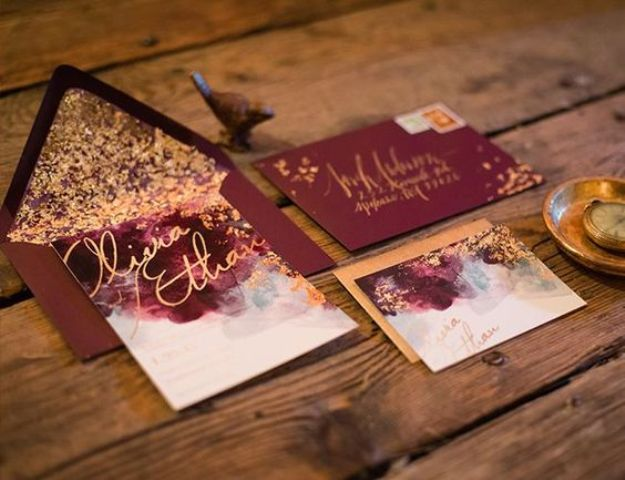burgundy and gold leaf wedding invites, watercolor invitations