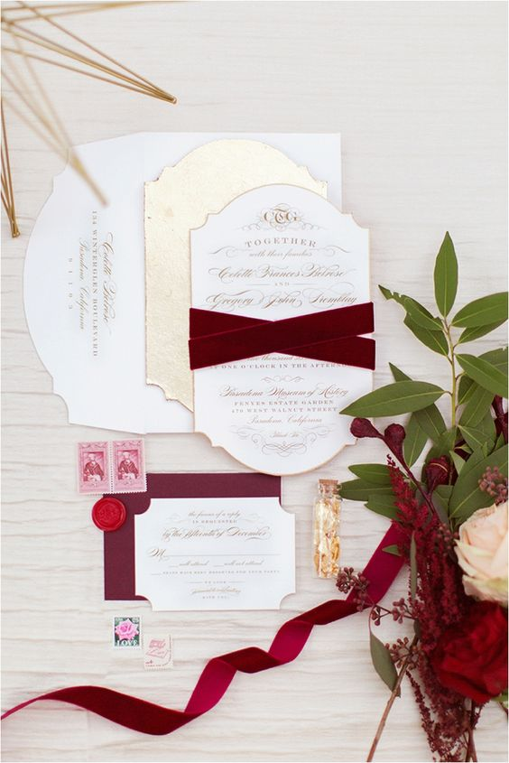 gold letterpress invitation with burgundy velvet ribbons a gorgeous idea for fall and winter