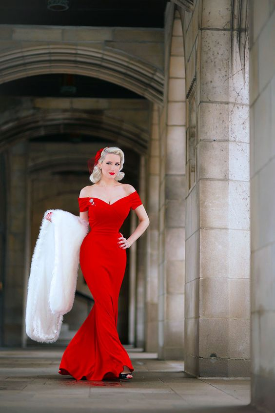 off the shoulder hot red wedding dress for a retro inspired bride