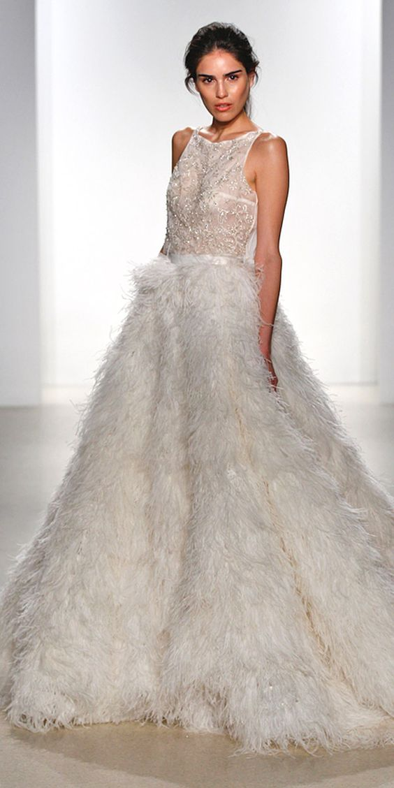 sleeveless beaded halter neckline bodice ballgown with a feather skirt