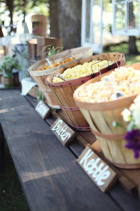 wooden baskets for serving various kinds of popcorn
