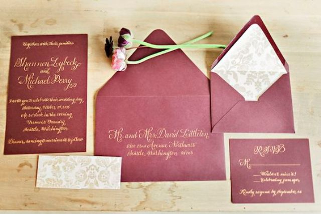 burgundy and gold wedding invitation suite