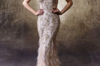 21 blush spaghetti strap fitting wedding dress with gold embroidery and a feather skirt