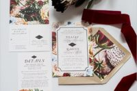 21 bold floral printed wedding invitations and a neutral envelopes