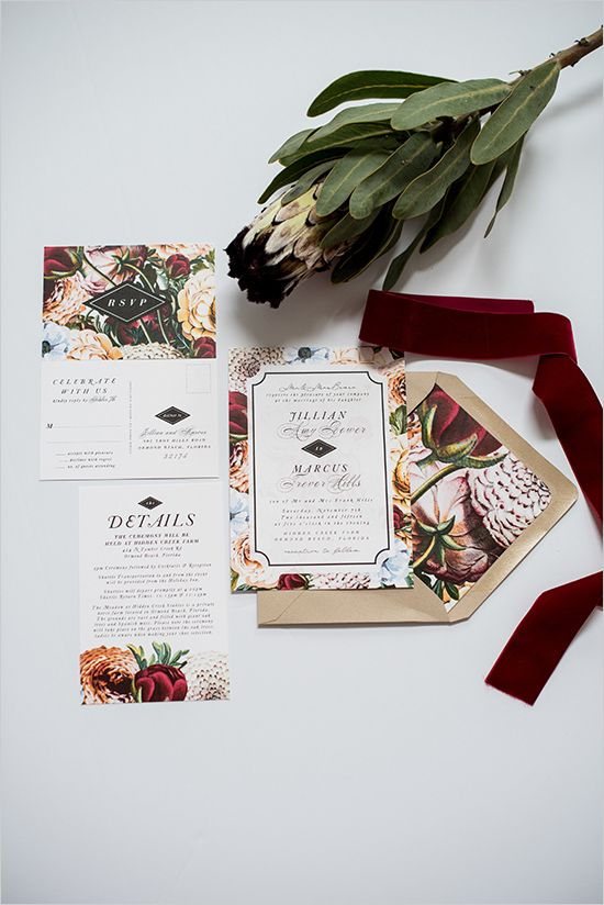 bold floral printed wedding invitations and a neutral envelopes