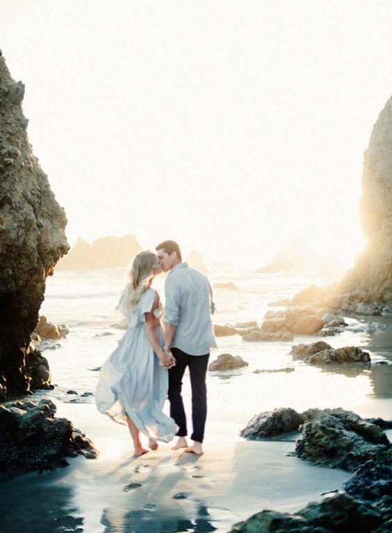 walk on the beach together, kiss, have fun and laugh