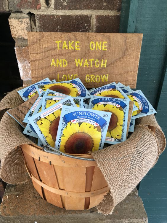sunflower seeds in a wooden basket with burlap for a simple favor