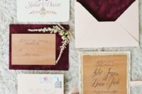 24 neutral invitations and burgundy lining envelopes, floral prints