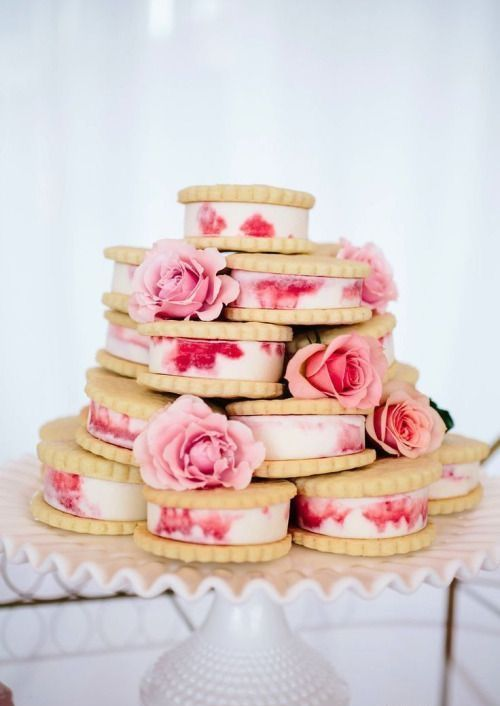 vanilla rose ice cream sandwich wedding cake with fresh roses
