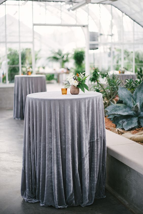 grey velvet tablecloths for cocktail tables