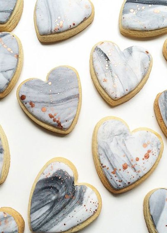 heart-shaped marble cookies with gold leaf decor