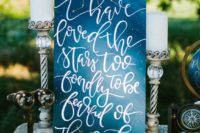26 navy constellation wedding sign with an appropriate quote