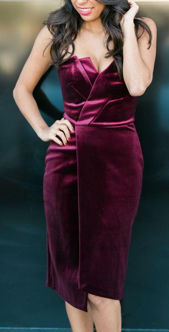 strapless burgundy midi wedding dress with a geometric neckline