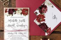 27 berry-hued wedding invites with floral prints and kraft paper envelopes