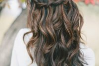 27 braided half updo with waves and a caramel balayage on black