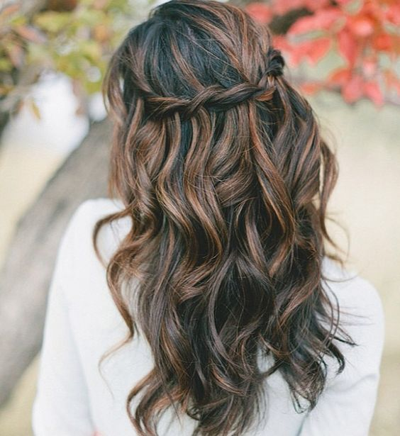braided half updo with waves and a caramel balayage on black