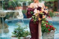 27 burgundy off the shoulder mermaid wedding dress with floral applique sleeves and skirt