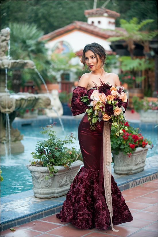 burgundy off the shoulder mermaid wedding dress with floral applique sleeves and skirt