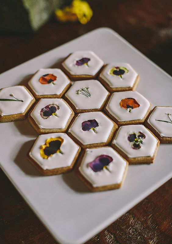 hexagon edible flower cookies