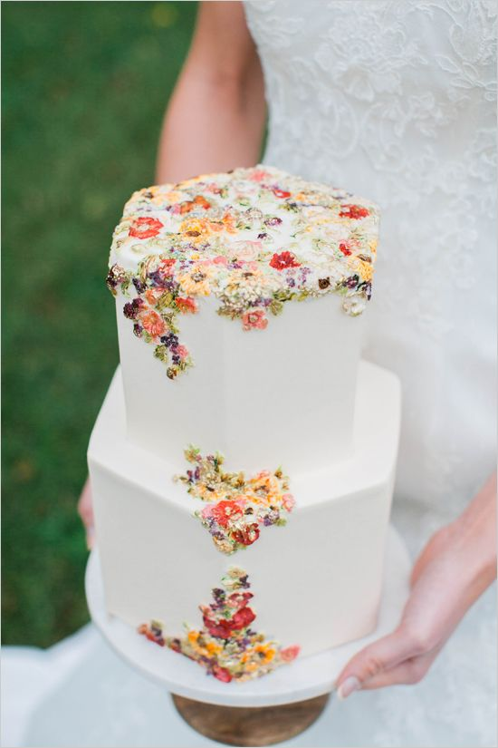 hexagon wedding cake with sugared flower decor