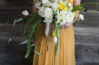 29 mustard wedding dress with a crochet top and sleeves