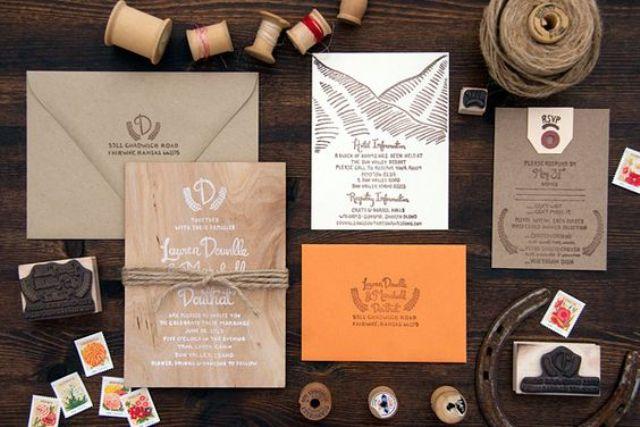 grey, brown, orange wedding invites for mountain or woodland weddings