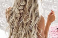 30 twisted and wavy half updo with a large messy braid